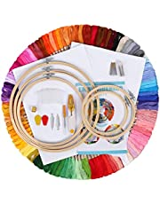IMMEK 5 Pieces Embroidery Hoop Set Bamboo Circle Cross Stitch Hoop+ 100 Colors Embroidery Thread Cross Stitch kits Embroidery Floss,2 Cross Stitch Cloth,Threads for Sewing Knitting DIY Threaders