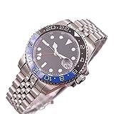 Parnis 40mm Black Sterile Dial Blue Black Ceramic Bezel Sapphire Glass GMT Function Automatic Movement Men's Watch