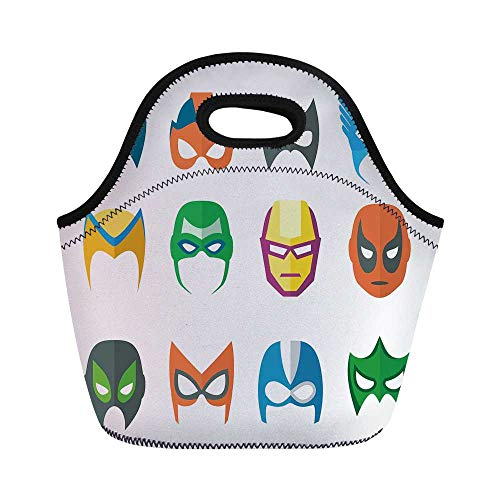 Superhero Durable Lunch Bag,Hero Mask Female Male Costume