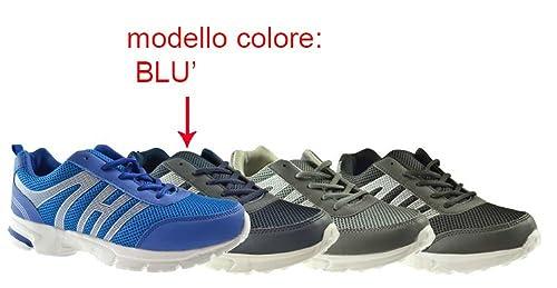 c772eec763 AXA Scarpe Uomo Sneakers Tela Blu 78046A Blue: Amazon.it: Scarpe e borse