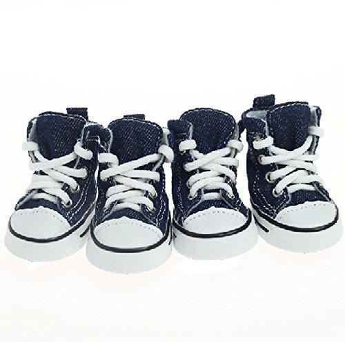 Mallofusa Blue Pet Boots Non Slip Canvas Sport Dogs Shoes Rubber Sole Size 2