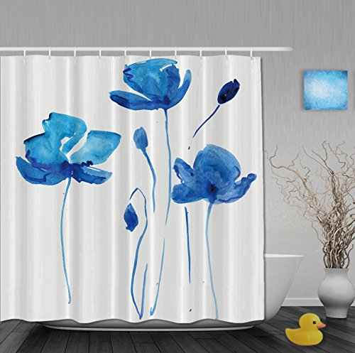 Home Decor Collection Watercolor Painting Blue Flowers Bathroom Shower Curtains Mildew And Fade Resistant Waterproof Polyester Fabric 72