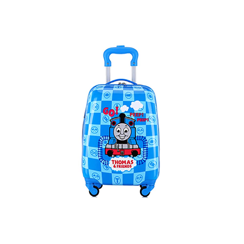 Children's Suitcase Children's Trolley Case Luggage Cute Cartoon Four Wheel Tow Suitcase 18 Inch Blue Thomas