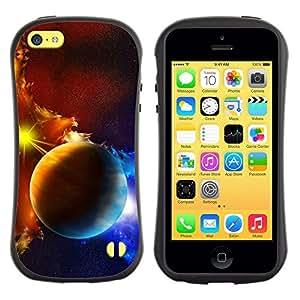 All-Round híbrido de goma duro caso cubierta protectora Accesorio Generación-I BY RAYDREAMMM - Apple iPhone 5C - Planets Galaxy Gas Clouds Star Sun Blue Yellow