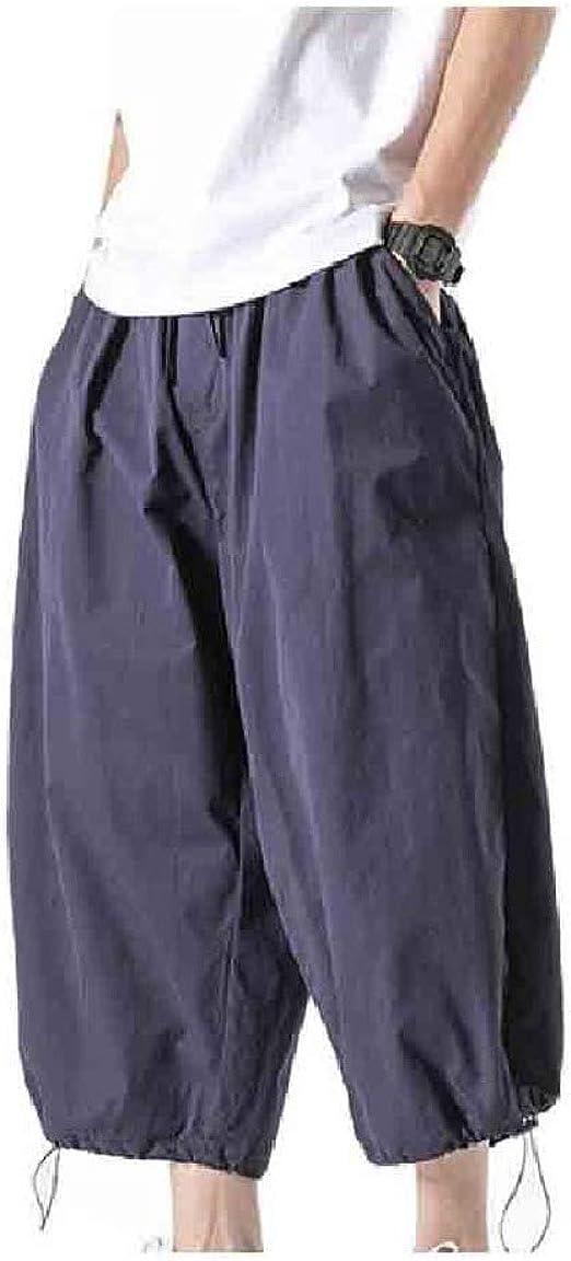 Tootess Men Vingtage 3/4 Pants Loose-Fit Solid-Colored Summer Leg Pants