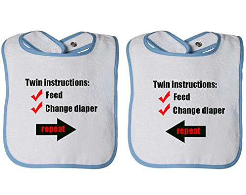 Instructions: Feed Change Diaper Repeat Infant Contrast Trim Terry Bib White/Blue by Cute Rascals
