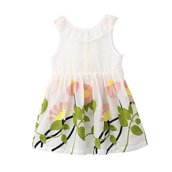 YOUNGER TREE Toddler Baby Girls Summer Floral Dress Sleeveless Princess Party Pageant Dresses Sundress