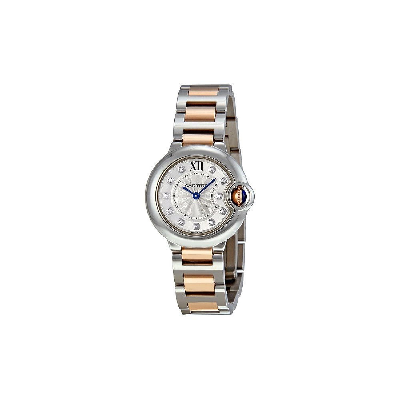 カルティエBallon Bleu 28 mmレディースクォーツ18 KローズゴールドとステンレススチールDiamond Dial Watch – we902030 B00663Q76G