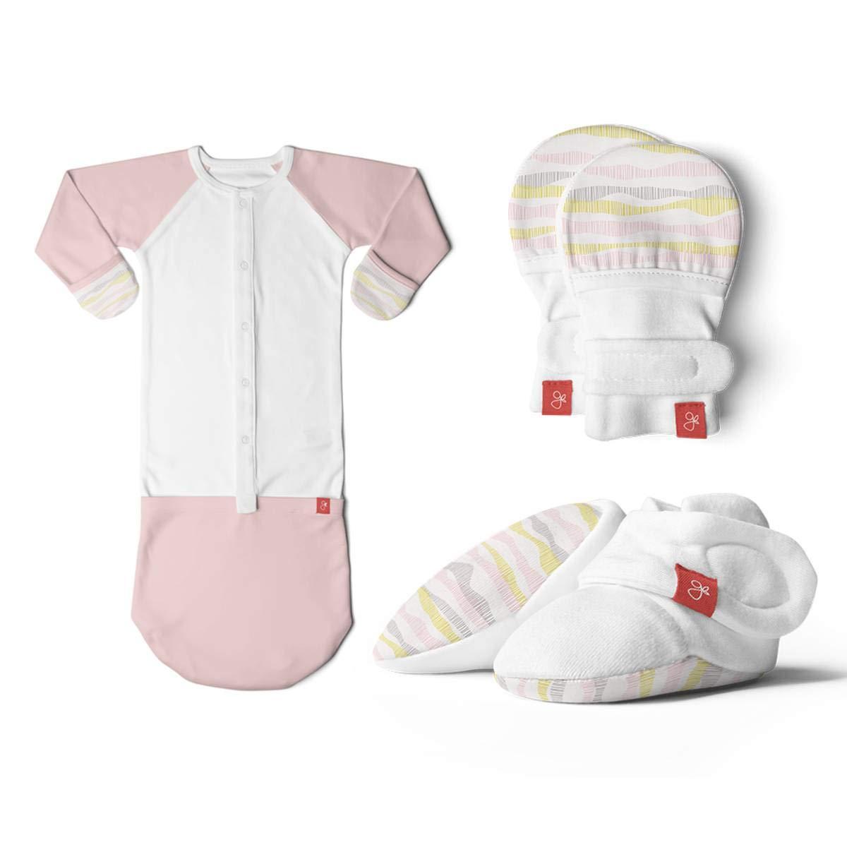 Newborn Baby Mittens, Booties & Sleep Sack Pajamas Bundle, Organic, Soft & Adjustable (Geo Wave Pink, 0-3 Months) by goumikids