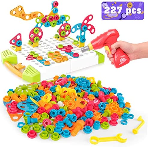 Vanmor Building Block Games Set 227 Pieces Electric DIY Drill Educational Set With Toy Drill & Screw Driver Tool STEM Learning Toys Develop Fine Motor Skills Best Kids Gift for Boys Girls Age 3 4 5