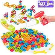 Vanmor Building Block Games Set, 227 Pieces Electric DIY Drill Educational Set With Toy Drill & Screw Driv