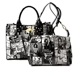 Glossy Magazine Cover Collage 3-in-1 Shoulder Bag Hobo Michelle Obama Handbag (3-Black/White)