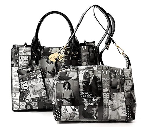 Glossy Magazine Cover Collage 3-in-1 Shoulder Bag Hobo Michelle Obama Handbag (3-Black/White) by Elphis