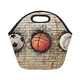 InterestPrint Baseball Basketball Soccer Ball Reusable Insulated Neoprene Lunch Tote Bag Cooler 11.93'' x 11.22'' x 6.69'', Brick Wall Portable Lunchbox Handbag for Men Women Adult Kids