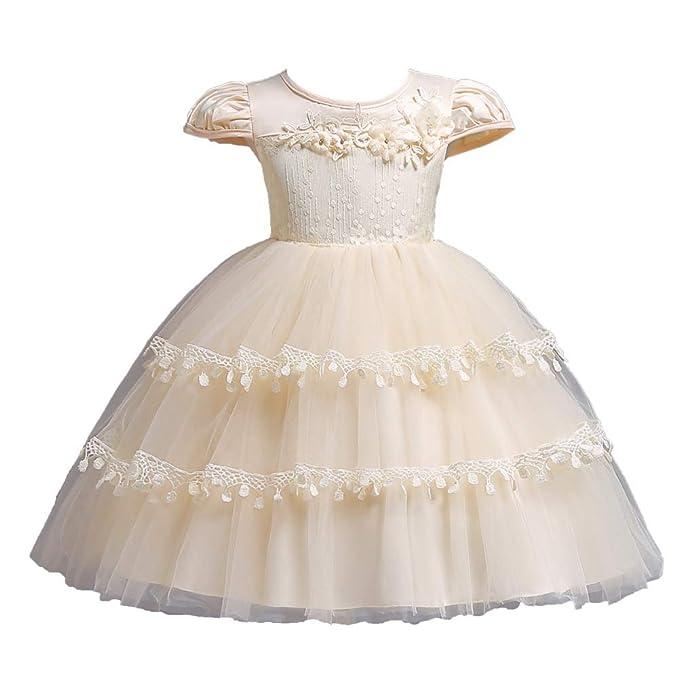 GHTWJJ Vestido De Noche De Niñas Vestidos De Novia De Baile Princesa Vestido De Vestir Vestido De Bebé Cakebirthday De Color Puro (Blanco Rosa Beige Verde) ...