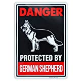 Beware of German Shepherd Sign, Big Metal Beware of Dog Sign, 10x14 inch Large Rust Free 30 mil Aluminum,UV Printed Weather Resistant Ink,Easy to Mount for Yard and Fence