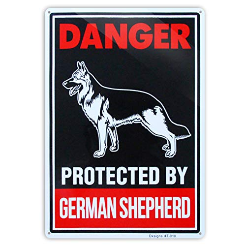 (Beware of Dog Sign Dig Will Bite,German Shepherd Beware of Dog Signs Reflective 10x14 inch Large Rust Free 30 mil Aluminum,UV Printed Weather Resistant Ink,Easy to Mount for Yard and Fence)