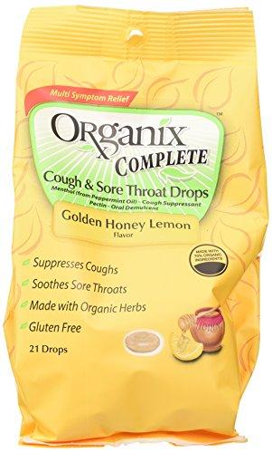 Tos completos de Organix y gotas de dolor de garganta, oro miel limón, cuenta 21 (paquete de 4)