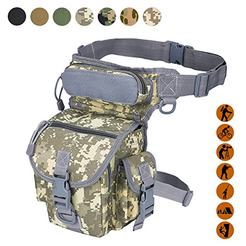 Military Tactical Drop Leg Bag Tool Fanny Thigh Pack Leg Rig Utility Pouch Paintball Airsoft Motorcycle Riding Thermite Versipack, ACU - Airsoft Paint Camo