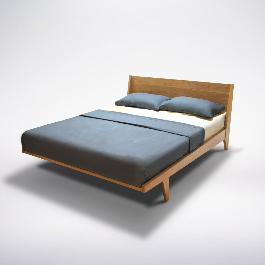Amazon.com: Modern Platform Bed Queen Cherry Wood Mid Century