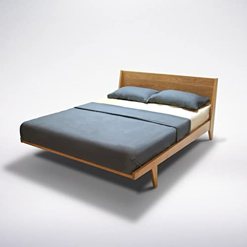 Amazon Com Modern Platform Bed Queen Cherry Wood Mid Century