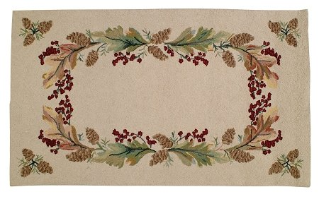 Berry Hooked Rug - Handmade Beige Hooked Hand Tufted Decorative Fall Autumn Harvest Pinecone Berries Wreath Area Rug.
