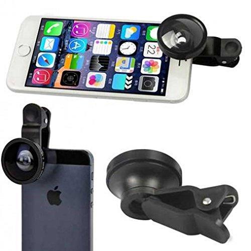 Motorola Moto Z Force Droid Compatible 2-in-1 Selfie Camera Lens Kit Fisheye Wide Angle Macro Clip Attach Black