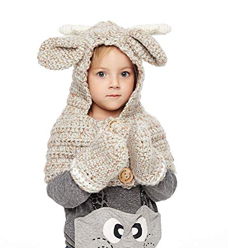 Sumolux Girls Kids Warm Animal Hats and Mitten Set Knitted Deer Style Coif Hood/Scarf Beanies for Winter