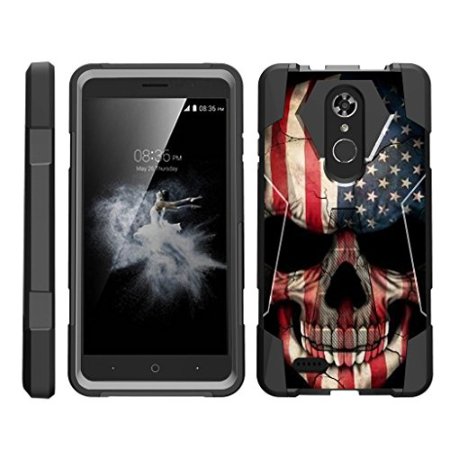 TurtleArmor | ZTE Max XL Case | ZTE Blade Max 3 Case | ZTE Max Blue Case [Dynamic Shell] Hybrid Dual Layer Hard Shell Kickstand Silicone Case - US Flag Skull