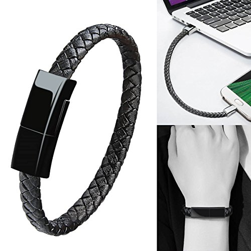 Bracelet USB Type C Cable Data Sync Durable Leather Braided Wrist Bracelet Portable Short Type C Charging Cable Compatible Samsung Galaxy S8+,HTC 10/U11,OnePlus 2/3T,Huawei P9/10 ect (Black-8 inch) (Bracelet Usb Wristband)