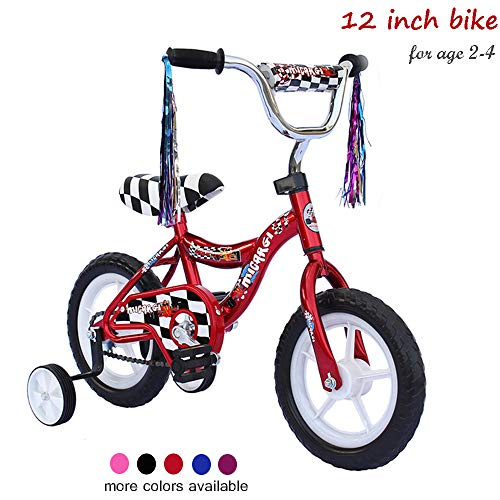 ChromeWheels 12 inch Bike for 2-4 Years Old Kids, EVA Tires and Training Wheels,Great for Beginner, Red
