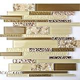 Interlocking Glass Tile Rose Golden Beige Tan Interior Wall Beach Sand Inner Conch Style Kitchen Backsplash TSTNB08 (11 PCS [12'' X 12''/each])