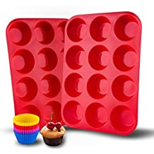 Auxcuiso 12 Cups Muffin Molds Silicone Non Stick Set of 2 Pack Red with 12 Silicone Baking Cups Cupcake