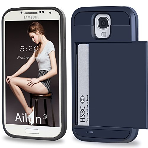 Galaxy S4 Case,by Ailun,Galaxy i9500,Protective Shell-Smooth Card Slider Wallet&Flexible Shockproof Rubber Bumper&Anti-scratch PC Back Cover,Siania Retail Package[Navy]