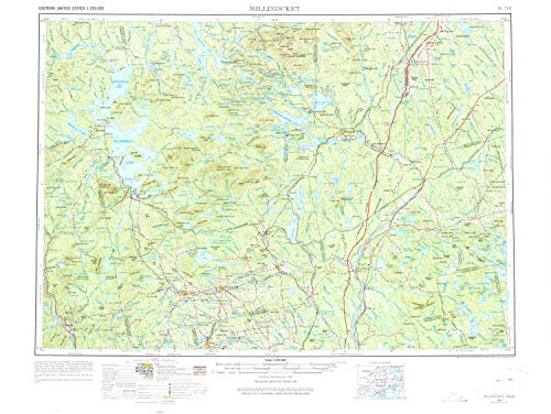 YellowMaps Millinocket ME topo map, 1:250000 Scale, 1 X 2 Degree, Historical, 1954, Updated 1975, 22.1 x 29.4 in - Polypropylene -