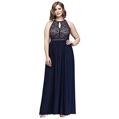 231a8fda50b Lace Keyhole Tie Back Plus Size Halter Dress Style 12089DW at Amazon ...