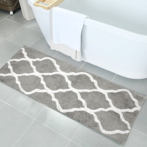 Pauwer Microfiber Bath Rugs Non Slip Bath Rug Runner Absorbent Bath Mats for Bathroom Machine Washable Bathroom Rugs (18