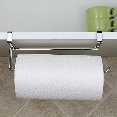Stainless Steel Kitchen Paper Hanger Under Cabinet Roll Towel Holder Tissue Hanger Organizer Rack for Kitchen Under Cabinet Over Door (Wooden Paper Towel Holder Under Cabinet)