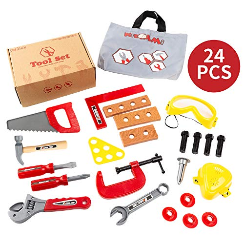 (KIDAMI 24 Pieces Toy Tools, Construction Tool Set for Kids, Pretend Play Tool with Goggles & Mask, Educational Gift for Boys with a Handy Storage Bag)