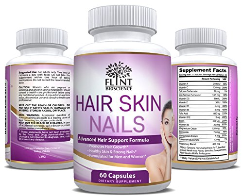 Hair Skin and Nails Vitamins, Tested & Proven Supplement for Amazing Results for Hair & Nail Growth with Youthful Skin Formula for Men & Women by Flint Bioscience