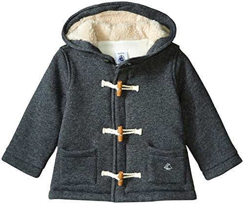 Petit Bateau Boys' Hooded Jacket with Toggle Closure, Gray, 18 Months