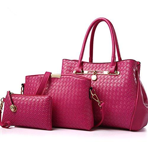 Juego de 3 bolsas Xagoo de cuero de las señoras del bolso de hombro del bolso de las señoras y conjunto del bolso Las mujeres en cuero de la vendimia (Estilo 3) Estilo 3