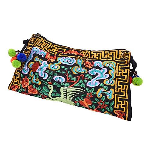 Messenger bag - SODIAL(R) Embroidered bags handmade fabric embroidery one shoulder cross-body women messenger Clutch handbag?Clouds and Butterflies? Cranes