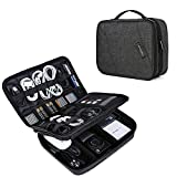 BAGSMART Double Layer Travel Universal Cable Organizer Cases Electronics Accessories Storage Bag for 10.5'' iPad Pro, iPad air, Charger, Kindle, Black