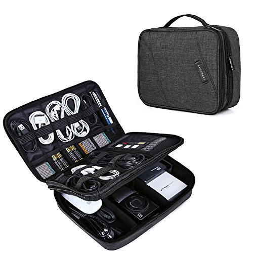 Electronic Organizer, BAGSMART Travel Cable Organizer Cases Double Layer Electronics Accessories Storage Bag for 10.5 inch iPad Pro, iPad air, Cables, Kindle, Black