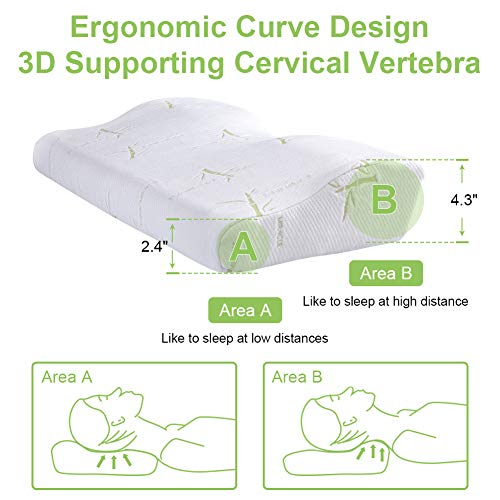 EARTH MIRACLE Memory Foam Pillow, Contour Ergonomic Bed Pillows for Sleeping, Orthopedic Cervical Pillow for Neck Pain with Free Zippered Bamboo Fiber Pillow Case
