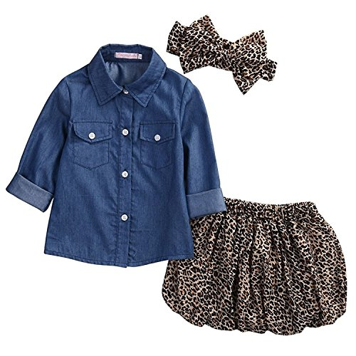 Baby Girl Blue Denim Shirt +Princess Tulle Overlay Leopard Print Dress Outfit With Bowknot Headband(12-24Months)