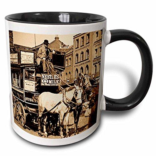 3dRose Scenes from the Past Magic Lantern Slides - Kings Cross London Street Tram Taxi Sepia - 11oz Two-Tone Black Mug (mug_8492_4)