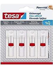 tesa Powerstrips Verstelbare kleefspijker voor behang en pleisterwerk, zelfklevende nagel 1 kg - 4 Nägel wit