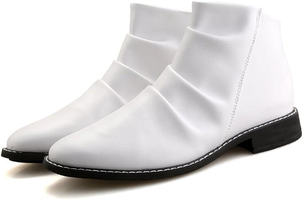 Herren Stiefeletten Round Toe Block Ferse ziehen auf Slouch Vamp Oxfords Schuhe Leather Shoes